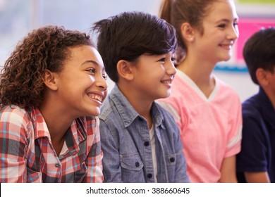 Pre-teen elementary school kids in a lesson