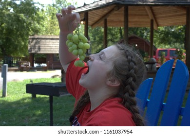 Preteen girl holding a cluster of grapes above her head with her mouth open to eat them in front of cabins