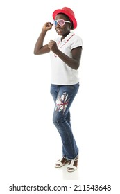 A preteen girl raising her fists in a cheer for America.  She's dressed in patriotic colors.  On a white background.