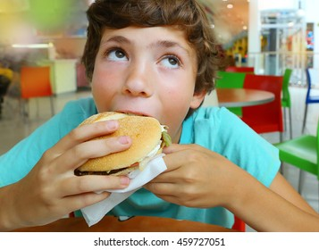 preteen handsome boy with fast food hamburger smile in shopping mall restaurant close up portrait