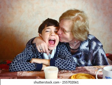 preteen handsome boy with grandma