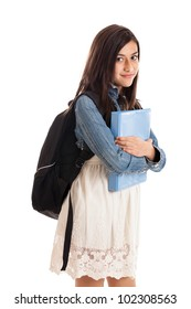 Preteen mixed race student with notebook and backpack isolated on white background