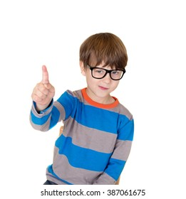 Pretend Play: child in glasses pretending to be a teacher and pointing, education or learning concept