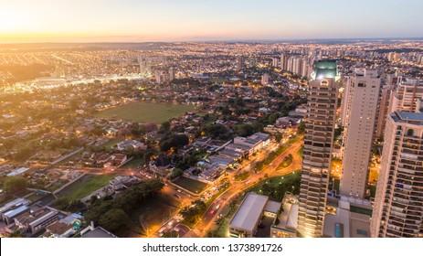 Ribeirão Preto, São Paulo / Brazil - Circa April, 2019: Avenida Professor João Fiúza, the most famous avenue in Ribeirão Preto, São Paulo / Brazil