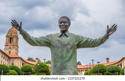 PRETORIA - 14/01/2016 - Bronze Statue of Nelson Mandela in front of Government Union Building in South Africa