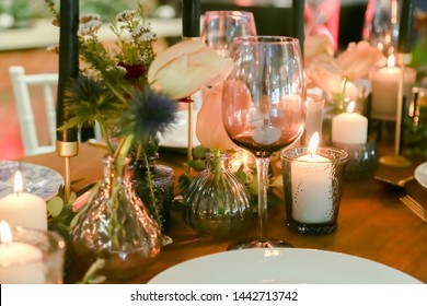 Pretoria Gauteng South Africa June 29 2019 wedding flower table decorations with candles and wine glasses