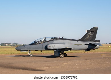 Pretoria, Gauteng/ South Africa - May 05 2018: A South African Air Force Hawk fighter trainer taxis down the runway at Zwartkops Air Force Base.