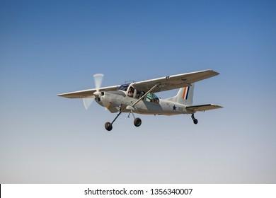 Pretoria, Gauteng/ South Africa - May 05 2018: South African Air Force Aermacchi AM.3C Bosbok in flight