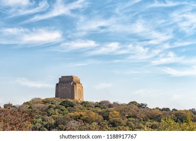 PRETORIA, SOUTH AFRICA, JULY 31, 2018: The Voortrekker Monument, on Monument Hill in Pretoria, as seen from Fort Schanskop