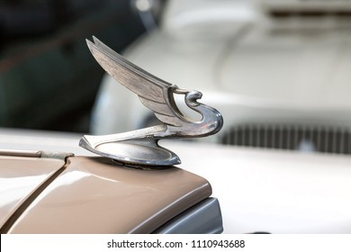 Pretoria, South Africa, June 1 - 2018: Hood ornaments of classic cars on display.