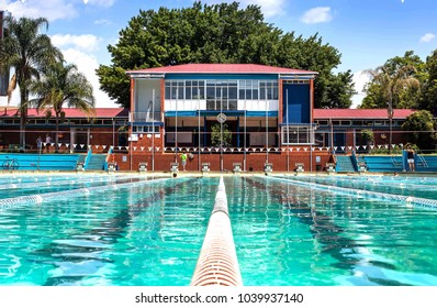 Pretoria, South Africa - March 6, 2018: Public swimming pool. Training pool in daylight