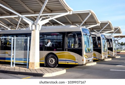 Pretoria, South Africa - March 6, 2018: Public busses waiting in depot.