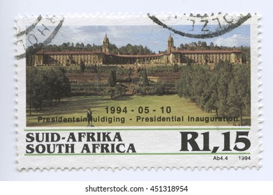 PRETORIA, SOUTH AFRICA - MAY 10 : Stamp of the Presidential Inauguration.10 May 1994 in Pretoria, South Africa. A famous event and popular political landmark
