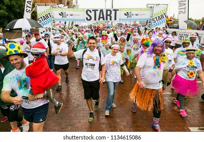 Pretoria, South Africa, May 14, 2016, Diverse people running in The Color Run Marathon in Pretoria