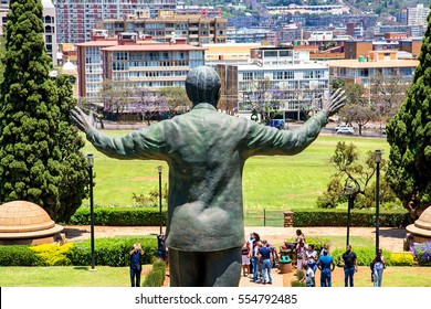 PRETORIA, SOUTH AFRICA, November 4, 2016.  A large statue of former South African president Nelson Mandela stands 9 meters tall in the middle of the Union Buildings in Pretoria