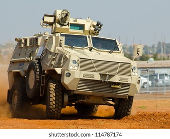 PRETORIA, SOUTH AFRICA -SEPT. 19: An Nyoka  armoured personnel carrier from BAE Systems seen during the African Aerospace & Defence show on Sept. 19, 2012 at AFB Waterkloof in Pretoria.