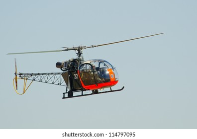 PRETORIA, SOUTH AFRICA -SEPT. 23: A SA Air Force museum  Alouette II at the African Aerospace & Defence show on Sept. 23, 2012 at AFB Waterkloof in Pretoria.