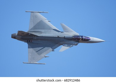 PRETORIA, SOUTH AFRICA-JUNE 10 2017 : Top view of a Gripen fighter as it banks towards the crowdline at the  Airlink Adrenaline Airshow at Wonderboom Airport.