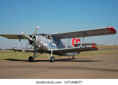 PRETORIA, SOUTH AFRICA-MAY 5 2018: Little Annie an Antonov AN-2  biplane with radial engine taxis at the Swartkops Museum Airshow