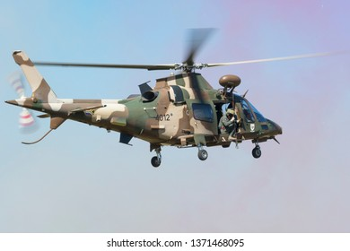 PRETORIA, SOUTH AFRICA-MAY 5 2018: SAAF Augusta  A109 helicopter preparing for a rope hoist during mini air war at the Swartkops Museum Airshow