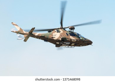 PRETORIA, SOUTH AFRICA-MAY 5 2018: SAAF Augusta  A109 helicopter flies past during mini air war at the Swartkops Museum Airshow