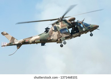 PRETORIA, SOUTH AFRICA-MAY 5 2018: SAAF Augusta  A109 helicopter descends during mini air war at the Swartkops Museum Airshow