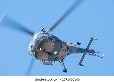 PRETORIA, SOUTH AFRICA-MAY 5 2018: Alouette III demonstrating a tight turn at the Swartkops Museum Airshow