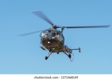 PRETORIA, SOUTH AFRICA-MAY 5 2018: Alouette III demonstrating in a hover from the front at the Swartkops Museum Airshow