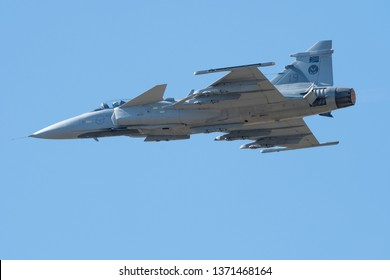 PRETORIA, SOUTH AFRICA-MAY 5 2018: A SAAF JAS-39 Grippen fighter jet doing a fly past at the Swartkops Museum Airshow