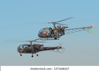 PRETORIA, SOUTH AFRICA-MAY 5 2018: Alouette II and Alouette III hovering together at the Swartkops Museum Airshow