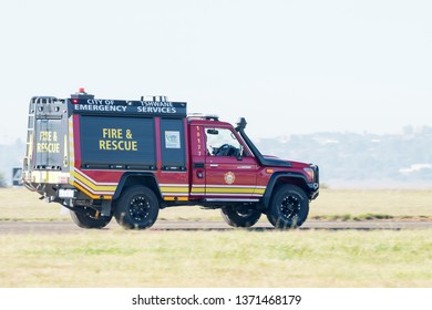 PRETORIA, SOUTH AFRICA-MAY 5 2018: A red fire and rescue vehicle from Tshwane City demonstrated at the Swartkops Museum Airshow