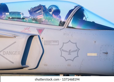 PRETORIA, SOUTH AFRICA-MAY 5 2018: A closeup of a SAAF JAS-39 Grippen fighter jet cockpit at the Swartkops Museum Airshow