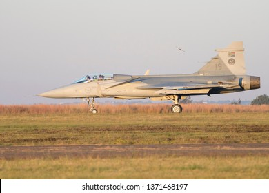 PRETORIA, SOUTH AFRICA-MAY 5 2018: A SAAF JAS-39 Grippen fighter jet landing after the show at the Swartkops Museum Airshow