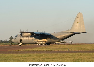 PRETORIA, SOUTH AFRICA-MAY 5 2018: Ground crew demonstrating their strength with a C130 Hercules at the Swartkops Museum Airshow