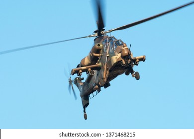 PRETORIA, SOUTH AFRICA-MAY 5 2018: Rooivalk up close in a hover at the Swartkops Museum Airshow