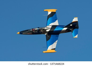PRETORIA, SOUTH AFRICA-MAY 5 2018: Glen Warden in a L-39 Albatros does a slow flypast for the crowd at the Swartkops Museum Airshow