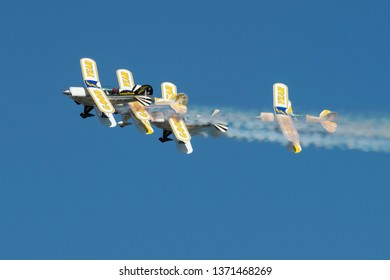 PRETORIA, SOUTH AFRICA-MAY 5 2018: Four ship formation fly past by the Goodyear Eagles Pitts Special aerobatic Team at the Swartkops Museum Airshow