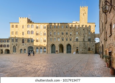 Pretorio Palace and Porcellino Tower, Priori square in a quiet moment of the afternoon, Volterra, Pisa, Tuscany, Italy