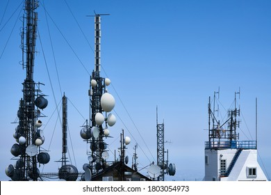 PRETORO, ABRUZZO REGION, ITALY - AUGUST 2, 2020: Antenna Farm (Dish Farm) Near the Top of Majella Mountains. Huge Television/Radio Telecommunications Complex with Towers, Masts, Dishes and Cables