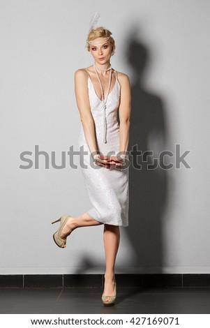 a2326e34370d Pretty Actress Pearl White Retro Dress Stock Photo (Edit Now ...