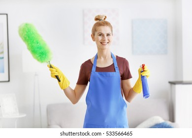 Pretty adult woman with duster and detergent in living room