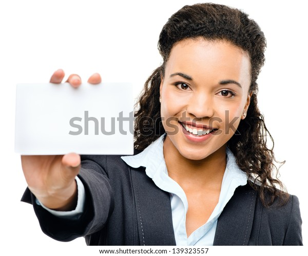 Pretty African American Businesswoman holding placard isolated on white background
