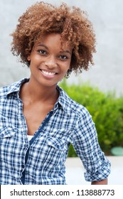 pretty african american college student on campus