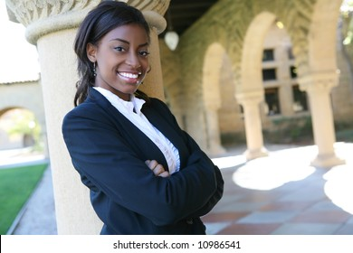 A pretty african american woman at college