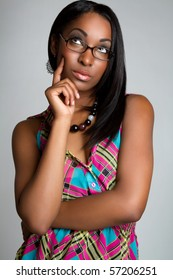 Pretty african american woman thinking