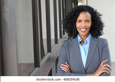 A pretty African american woman at work