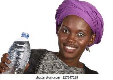 Pretty african girl with bottle of water, Studio shot,  Cameroon