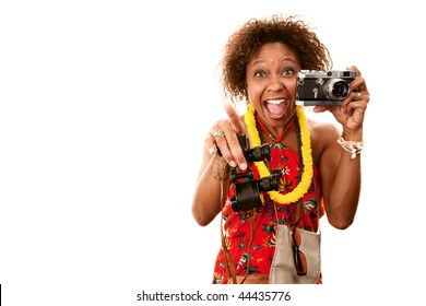 Pretty African-American Woman Tourist with Binoculars and Camera