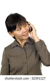 Pretty Asian Business Woman, text on her cellphone with happy face