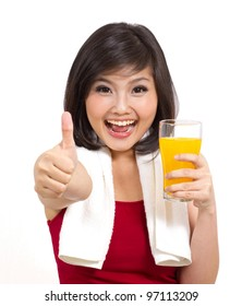 pretty asian girl holding orange juice and thumbs up